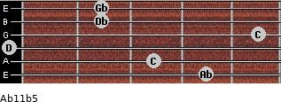 Ab11b5 for guitar on frets 4, 3, 0, 5, 2, 2