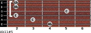 Ab11#5 for guitar on frets 4, 3, 2, 5, 2, 2