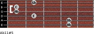 Ab11#5 for guitar on frets 4, 4, 2, 1, 1, 2