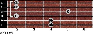 Ab11#5 for guitar on frets 4, 4, 2, 5, 2, 2
