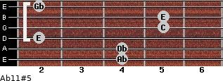 Ab11#5 for guitar on frets 4, 4, 2, 5, 5, 2