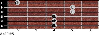 Ab11#5 for guitar on frets 4, 4, 4, 5, 5, 2