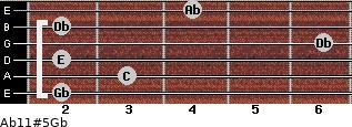 Ab11#5/Gb for guitar on frets 2, 3, 2, 6, 2, 4