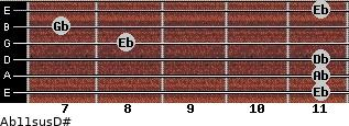 Ab11sus/D# for guitar on frets 11, 11, 11, 8, 7, 11