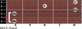 Ab13 for guitar on frets 4, x, 4, 8, 6, 8