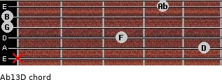 Abº13\D for guitar on frets x, 5, 3, 0, 0, 4