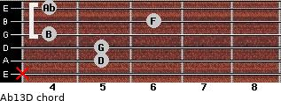 Abº13\D for guitar on frets x, 5, 5, 4, 6, 4
