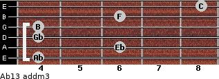 Ab13 add(m3) for guitar on frets 4, 6, 4, 4, 6, 8
