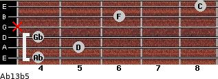 Ab13b5 for guitar on frets 4, 5, 4, x, 6, 8