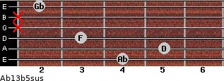 Ab13b5sus for guitar on frets 4, 5, 3, x, x, 2