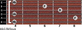Ab13b5sus for guitar on frets 4, 8, 4, 7, 6, 4