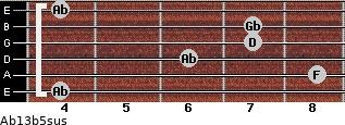 Ab13b5sus for guitar on frets 4, 8, 6, 7, 7, 4