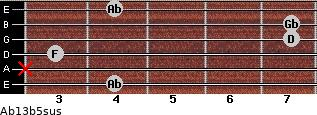 Ab13b5sus for guitar on frets 4, x, 3, 7, 7, 4