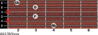 Ab13b5sus for guitar on frets 4, x, 3, x, 3, 2