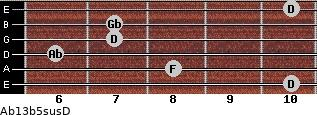 Ab13b5sus/D for guitar on frets 10, 8, 6, 7, 7, 10