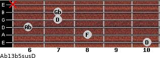 Ab13b5sus/D for guitar on frets 10, 8, 6, 7, 7, x