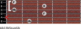 Ab13b5sus/Gb for guitar on frets 2, x, 3, 1, 3, 1