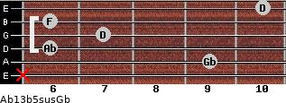 Ab13b5sus/Gb for guitar on frets x, 9, 6, 7, 6, 10