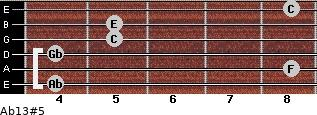 Ab13#5 for guitar on frets 4, 8, 4, 5, 5, 8