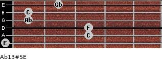 Ab13#5/E for guitar on frets 0, 3, 3, 1, 1, 2