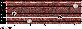 Ab13sus for guitar on frets 4, 6, 3, x, 7, x