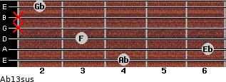 Ab13sus for guitar on frets 4, 6, 3, x, x, 2
