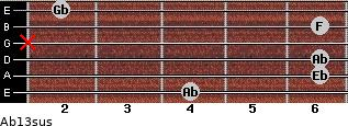Ab13sus for guitar on frets 4, 6, 6, x, 6, 2