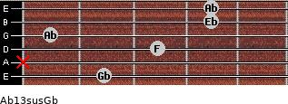 Ab13sus/Gb for guitar on frets 2, x, 3, 1, 4, 4