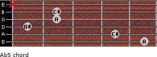 A(b5) for guitar on frets 5, 4, 1, 2, 2, x
