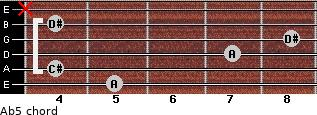 A(b5) for guitar on frets 5, 4, 7, 8, 4, x