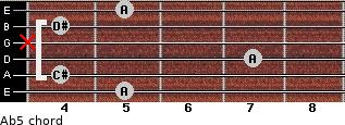 A(b5) for guitar on frets 5, 4, 7, x, 4, 5