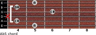 A(b5) for guitar on frets 5, 4, x, 6, 4, 5