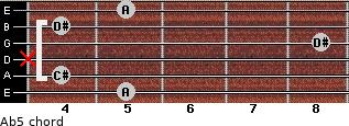 A(b5) for guitar on frets 5, 4, x, 8, 4, 5