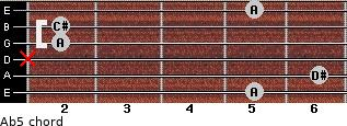 A(b5) for guitar on frets 5, 6, x, 2, 2, 5