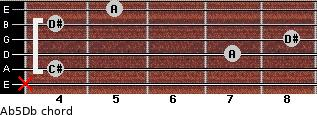 A(b5)/Db for guitar on frets x, 4, 7, 8, 4, 5