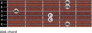 Ab6 for guitar on frets 4, 3, 3, 1, 4, 4