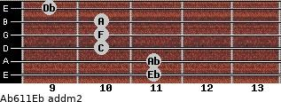 Ab6/11/Eb add(m2) guitar chord