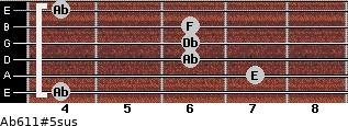 Ab6/11#5sus for guitar on frets 4, 7, 6, 6, 6, 4