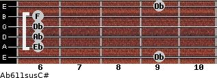 Ab6\11sus\C# for guitar on frets 9, 6, 6, 6, 6, 9