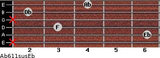 Ab6/11sus/Eb for guitar on frets x, 6, 3, x, 2, 4