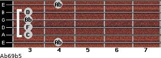 Ab6/9b5 for guitar on frets 4, 3, 3, 3, 3, 4