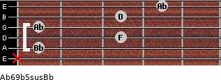 Ab6/9b5sus/Bb for guitar on frets x, 1, 3, 1, 3, 4
