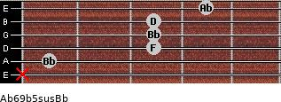 Ab6/9b5sus/Bb for guitar on frets x, 1, 3, 3, 3, 4