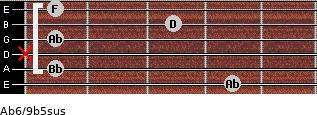 Ab6/9b5sus for guitar on frets 4, 1, x, 1, 3, 1