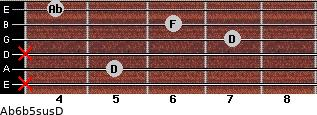 Ab6b5sus/D for guitar on frets x, 5, x, 7, 6, 4