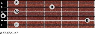 Ab6b5sus/F for guitar on frets 1, 5, 0, 1, 3, 1