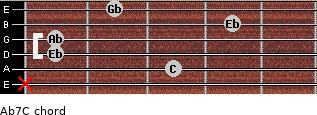 Ab7/C for guitar on frets x, 3, 1, 1, 4, 2