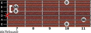 Ab7b5sus/D for guitar on frets 10, 11, x, 7, 7, 10