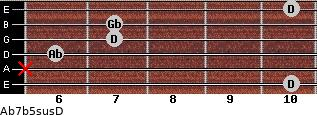 Ab7b5sus/D for guitar on frets 10, x, 6, 7, 7, 10