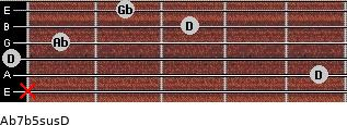 Ab7b5sus/D for guitar on frets x, 5, 0, 1, 3, 2